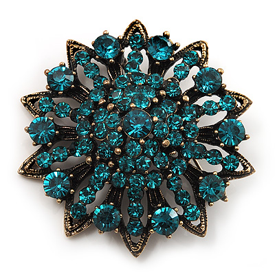 Teal Blue Crystal Dimensional Floral Corsage Brooch (Antique Gold Tone)
