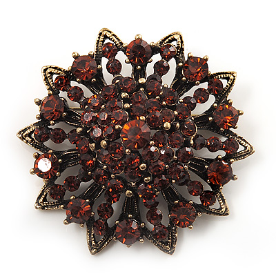Amber Coloured Crystal Dimensional Floral Corsage Brooch (Antique Gold Tone)