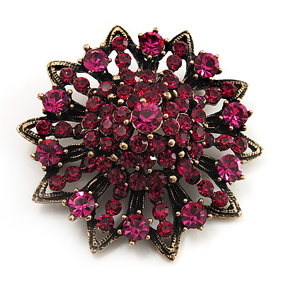Magenta Crystal Dimensional Floral Corsage Brooch (Antique Gold Tone)