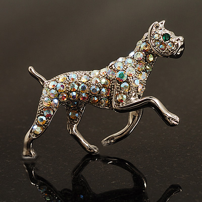 Silver Tone Iridescent Crystal &#039;Bulldog&#039; Brooch