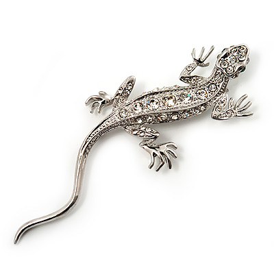 Crystal Lizard With Green Eyes Brooch (Silver Tone Metal)