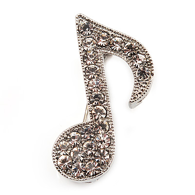 Small Silver Tone Clear Crystal Musical Note Brooch