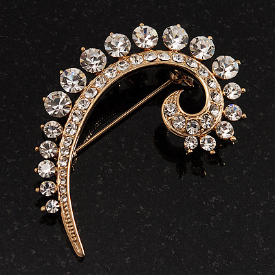 Gold Tone Swirl Diamante Brooch