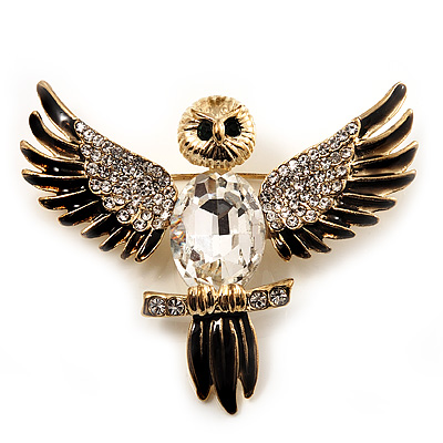 Black Enamel Crystal Owl Brooch (Gold Tone Metal) - main view