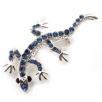 Small Blue Crystal Lizard Brooch (Silver Tone Metal) - main view