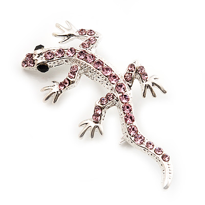 Small Pink Crystal Lizard Brooch (Silver Tone Metal)