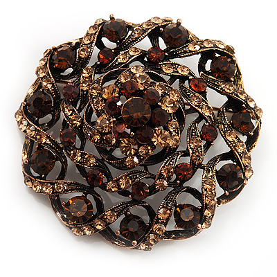 Dome Shaped Amber Coloured Crystal Corsage Brooch (Antique Gold Tone)