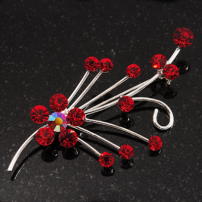 Silver Tone Red Diamante Floral Brooch