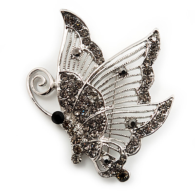 Dim Grey Crystal Filigree Butterfly Brooch (Silver Tone)
