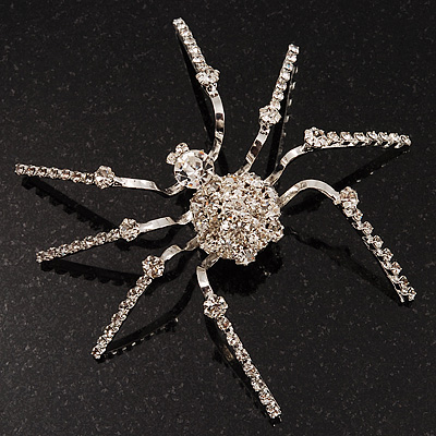 Jumbo Diamante 8 Legged Spider Brooch (Silver Tone Metal)