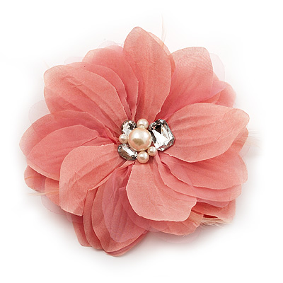 Large Dusty Pink Jewelled Fabric Flower Brooch -19cm Diameter