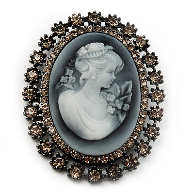 Oversized Oval Crystal Cameo Brooch (Gun Metal) - main view