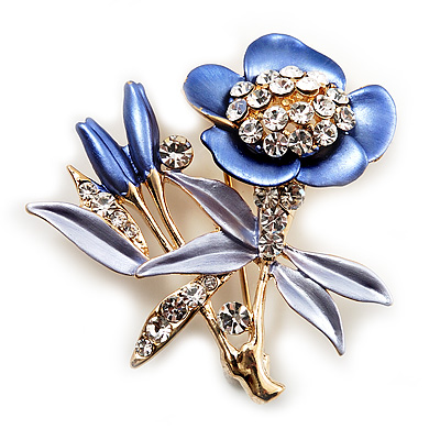 Violet Enamel Crystal Bunch Of Flowers Brooch (Gold Tone) - main view