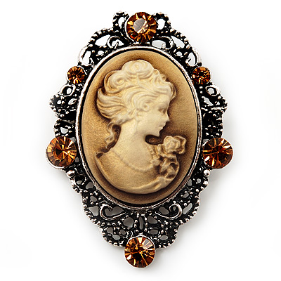 Crystal Vintage &#039;Lady&#039; Cameo Brooch/Pendant In Burn Silver Metal