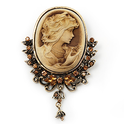 Vintage Diamante Charm Cameo Brooch/Pendant In Antique Gold Metal