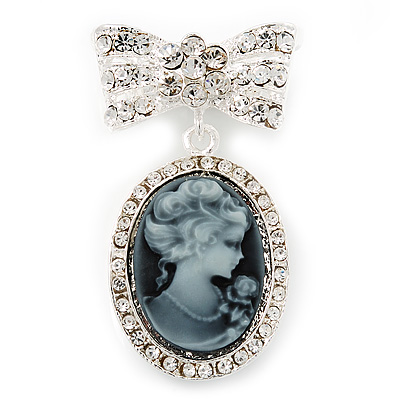 Diamante &#039;Cameo With Bow&#039; Brooch In Rhodium Plated Metal