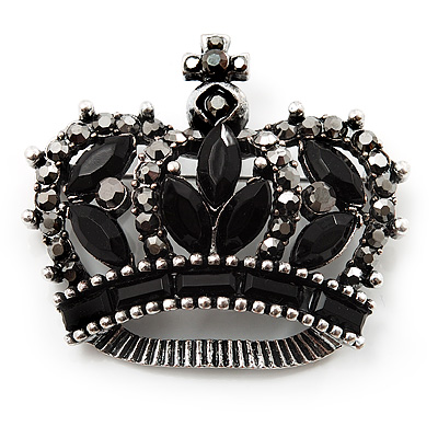 Black CZ Crown Brooch In Burn Silver Metal