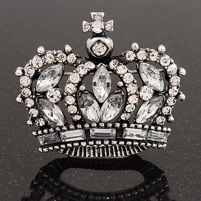 Clear CZ Crown Brooch In Burn Silver Metal