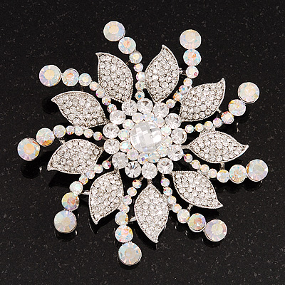 Large Bridal Swarovski Crystal Flower Brooch In Rhodium Plated Metal