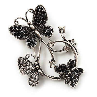 Diamante Butterfly Wreath Brooch (Burn Silver) - main view
