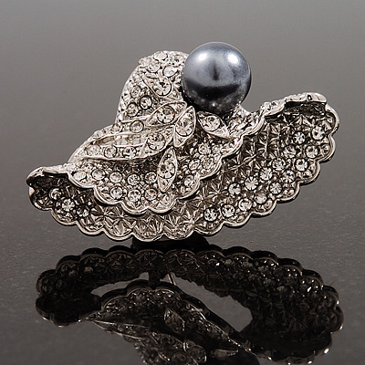 Diamante 'Sweet Little Hat' With Black Simulated Pearl Brooch (Silver Tone Metal)