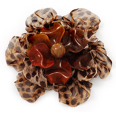 Large 'Animal Print' Fabric Flower Brooch - 10cm Diameter