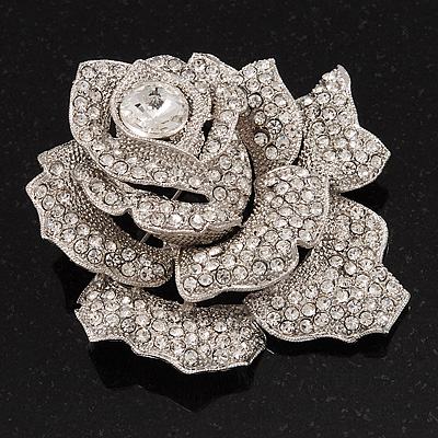 Large Crystal Dimensional Rose Corsage Brooch In Rhodium Plated Metal