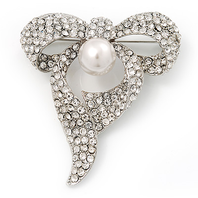 Stunning Diamante Pearl Bow Brooch In Rhodium Plated Metal
