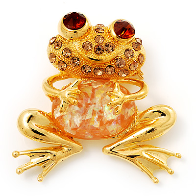 'Smiling Frog' Crystal Brooch (Gold Tone Metal) - main view