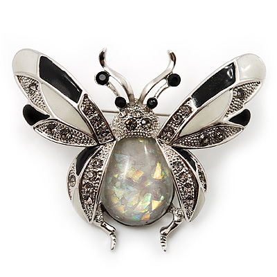 Large Enamel Bug Brooch (Black&White)