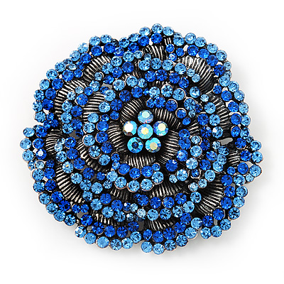 Spectacular Navy Blue Dimensional Rose Brooch (Antique Silver Tone)