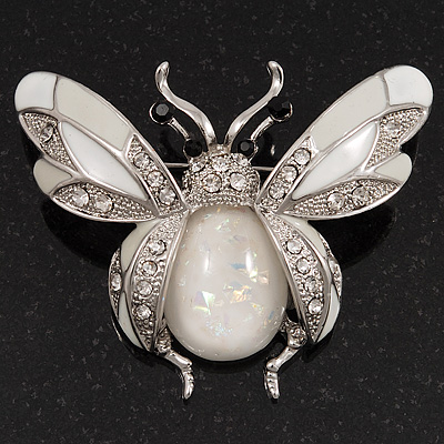 Large Enamel Bug Brooch (White)