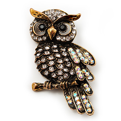 Antique Gold Crystal Owl Brooch
