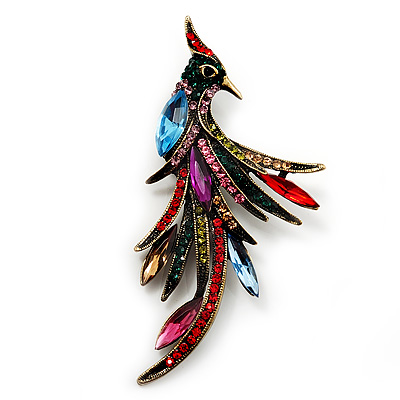 Sparkling Multicoloured Crystal Fire-Bird Brooch (Antique Gold Tone Metal)
