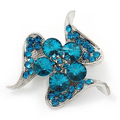 Dazzling Teal Blue Crystal Floral Brooch