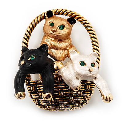 Cute &#039;Kittens In The Basket&#039; Brooch In Gold Plated Metal