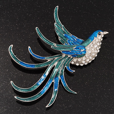 Oversized Enamel Diamante Firebird Brooch In Rhodium Plated Metal