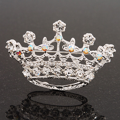 Clear & AB Crystal Crown Brooch In Rhodium Plated Metal