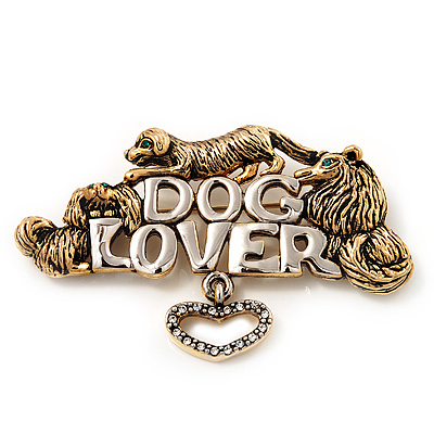 &#039;Dog Lover&#039; Brooch In Antique Gold Metal