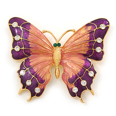 Oversized Deep Purple Enamel Butterfly Brooch (Gold Tone Metal) - main view