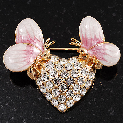 Gold Plated Diamante 'Heart' Brooch - main view