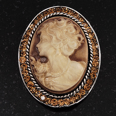 Swarovski Crystal Vintage Cameo Brooch (Burn Silver &amp; Brown)