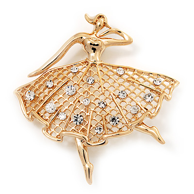 Diamante 'Dancing Ballerina' Gold Plated Brooch