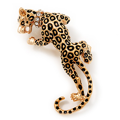 'Roaring Leopard' Gold Plated Brooch