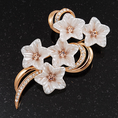 Exquisite Bridal Diamante Floral Brooch (Gold Plated Metal)