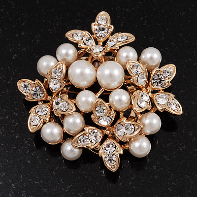 White Faux Imitation Pearl Crystal Scarf Pin/ Brooch In Gold Plated Metal - main view