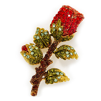Avalaya Crystal Daffodil With Green Enamel Leaves Floral Brooch In Gold Plating - 60mm L cHKiMiG8