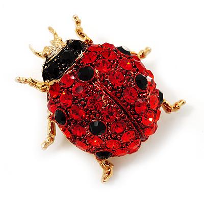 Red Swarovski Crystal Ladybug Brooch (Gold Tone Metal) - 30mm Length