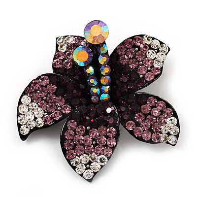 Stunning Purple Diamante Flower Brooch (Gun Metal Finish) - main view