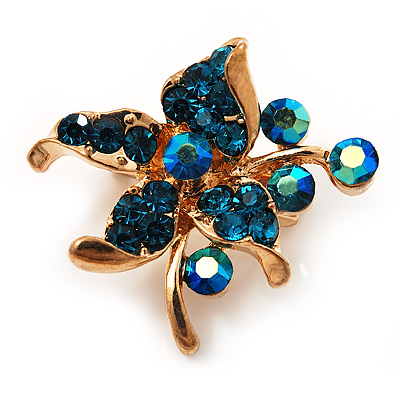 Tiny Teal Crystal Flower Pin Brooch (Gold Tone)